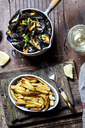 Moules-frites, blue mussel and french fries, white wine - SBDF03454