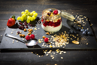 Muesli with Red Fruit Jelly, chia, curd, raspberry, almond, cranberry, blue berry, dried banana, grape - MAEF12526