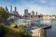 USA, New York City, skyline and Brooklyn Bridge with Jane's Carousel - SEEF00031