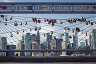 USA, New York City, skyline and love padlocks as seen from Brooklyn Pier - SEE00034