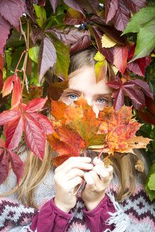Portrait of happy girl hiding behind autumn leaves - SARF03553