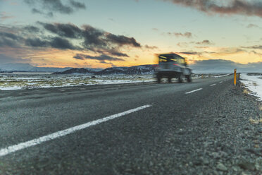 Iceland, Reykjavik, Car driving on the ring road - WPEF00119