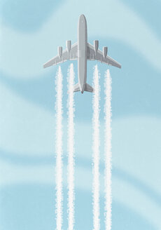 Low angle view of airplane with vapor trail against sky - FSIF00135