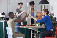 Happy friends toasting drinks in domestic kitchen - FSIF00186