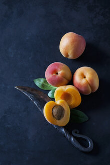 Whole and sliced apricots on dark ground - CSF28891