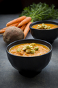 Bowl of sweet potato carrot soup with croutons - LVF06693