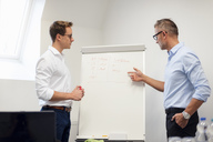 Two businessmen discussing at flip chart in office - DIGF03301