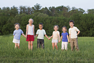 Children holding hands and standing in a field - FSIF00456