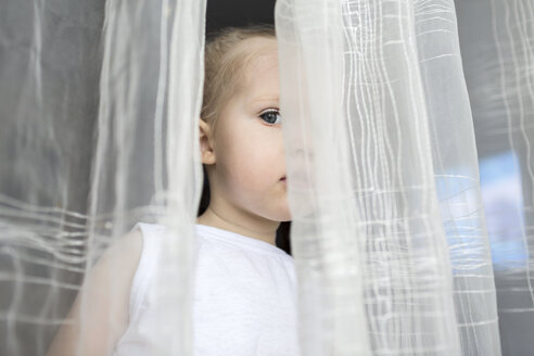 Girl peeking between translucent curtains - FSIF00564