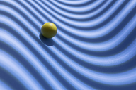 Yellow sphere over a geometric blue background, 3D Rendering - DRBF00042