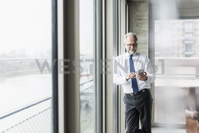 Smiling mature businessman standing at the window using cell phone - UUF12739