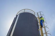 South Africa, Cape town, Construction worker climbing up ladder - ZEF14999