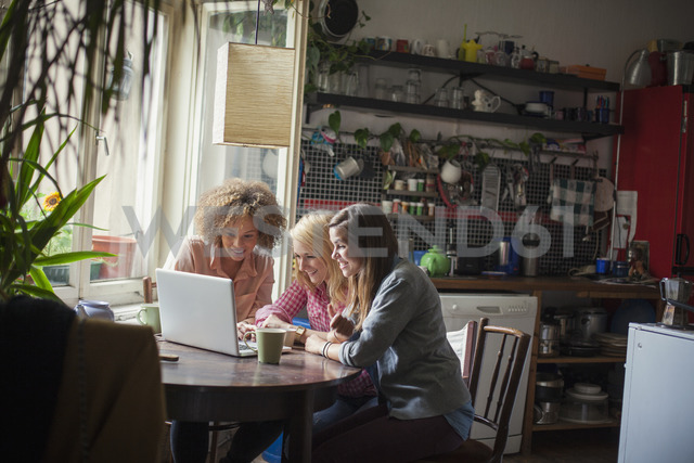 Smiling female friends using laptop at table by window - FSIF01027