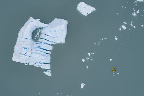 Aerial view of canoes and iceberg in lagoon, Lake Palmer, Anchorage, Alaska, USA - FSIF01126