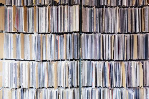 Full frame shot of records in shelves at office - FSIF01237