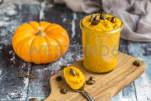 Glass of pumpkin pesto with pumpkin seed - SARF03572