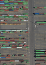 Aerial view of multi colored cargo containers at commercial dock - FSIF01316