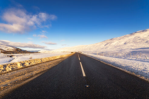 United Kingdom, Scotland, Highlands, A9 Road in winter - SMAF00929
