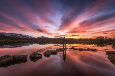 United Kingdom, Scotland, Highlands, Cairngorms National Park, Loch Morlich, sunset, hiker standing on stone - SMAF00944