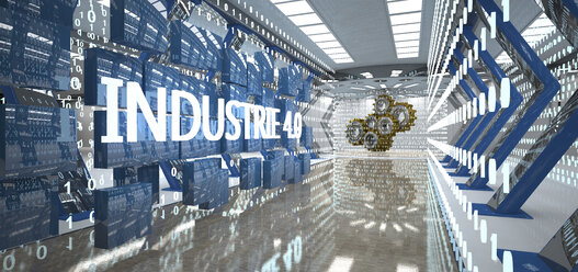 Industry 4.0 with bytes and gear wheels in the futuristic room, 3D Illustration - ALF00732