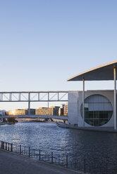 Germany, Berlin, Regierungsviertel, Marie-Elisabeth-Lueders-Building at Spree river, sunset - GWF05434