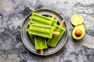Bowl of avocado lime ice lollies - SARF03579