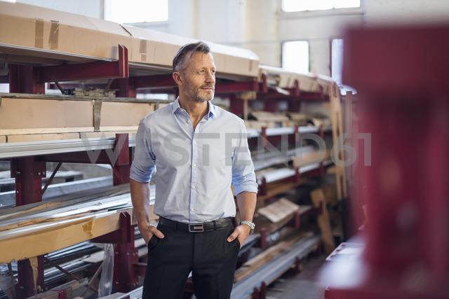 Mature businessman standing in factory storeroom looking sideways - DIGF03372