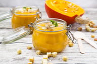 Pumpkin soup with croutons, garnished with parsley in jar - LVF06703
