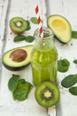 Green smoothie, detox, with avocado, baby spinach and kiwi - LVF06709