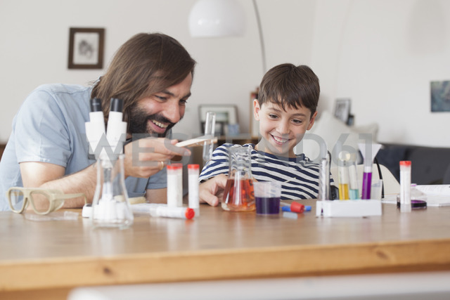 Father and son working on school science project at home - FSIF01439