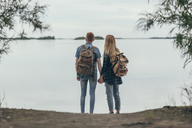 Rear view of couple holding hands while standing on lakeshore - FSIF01715