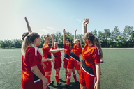 Excited soccer players with hands raised standing on field - FSIF01745