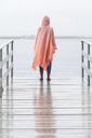 Rear view of woman wearing raincoat standing on jetty during rainy season - FSIF01817