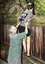 Mother helping daughter in climbing wooden fence at back yard - FSIF01886
