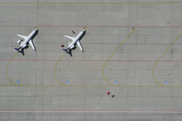 Aerial view of two airplanes parked in a row - FSIF02075