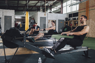 Determined men exercising on rowing machines at health club - FSIF02306