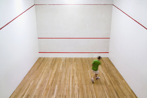 High angle view of a man practicing squash - FSIF02411