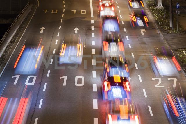 Germany, Baden-Wuerttemberg, Stuttgart, traffic in the evening - WDF04443