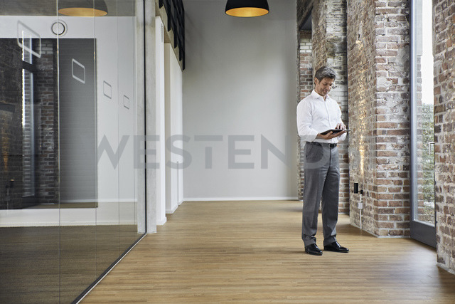 Mature businessman using tablet in modern office - PDF01477