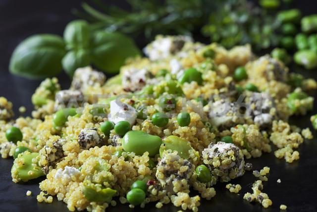 Quinoa salad with broad beans, peas and feta, close-up - CSF28976