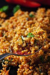 Spoon of bulgur wheat salad, close-up - CSF28979