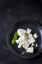 Feta, herbes and basil leaves on black plate - CSF28985
