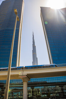 United Arab Emirates, Dubai, Burj Khalifa and elevated railway - ZEF15017