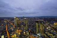Germany, Frankfurt, View from Maintower to financial district, blue hour - FOF09839