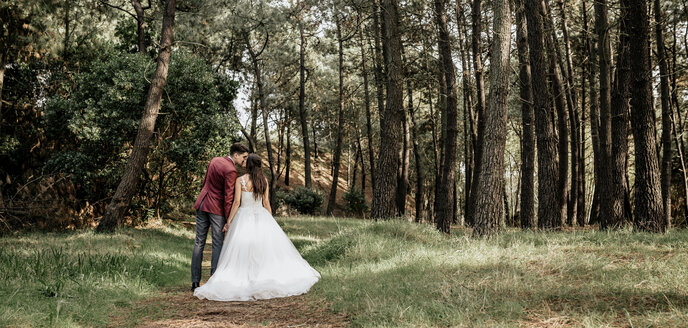 Back view of bride and groom kissing in forest - DAPF00894