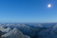 Austria, Germany, Bavaria, Zugspitze, summits and full moon - FOF09853