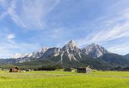 Austria, Tyrol, Lermoos, Ehrwalder Becken, View to Ehrwalder Sonnenspitze, Gruenstein, Ehrwald, Mieminger Kette - FOF09856