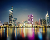 Vietnam, Ho Chi Minh City, Skyline at night - MADF01398