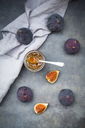Organic figs and a glass of fig jam - LVF06733