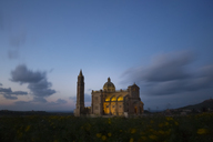 Malta, Gozo, Basilica Ta' Pinu, national shrine, blue hour - FCF01361